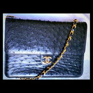 CHANEL classic Ostrich Medium Single Flap Bag